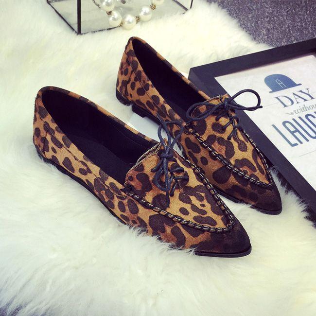 2015 lente herfst ondiepe mond flats vrouwen vetersluiting mode platte hak schoenen wees teen all luipaardprint loafers 3 kleuren