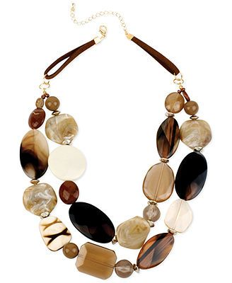 Haskell Gold-Tone Brown Mixed Bead Two-Row Necklace