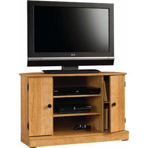 """Sauder Beginnings Highland Oak Corner TV Stand for TVs up to 47"""""""