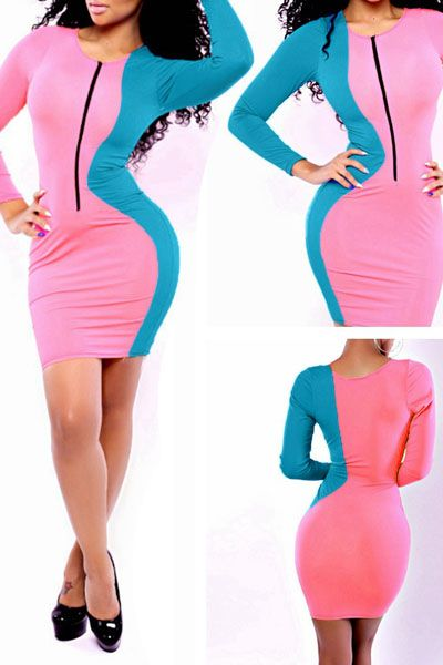 Stylish Pink Blue Color Block Mini Dress