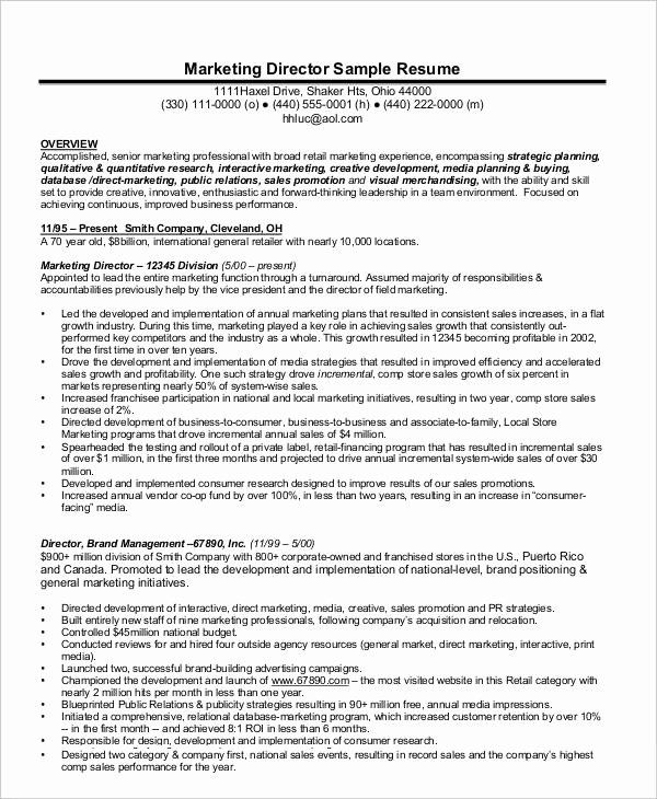 Director Of Marketing Resume Inspirational 23 Marketing Resume Templates Marketing Resume Job Resume Examples Interactive Marketing