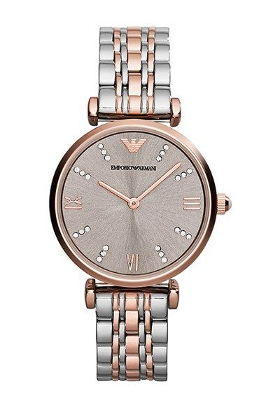 Emporio+Armani+Crystal+Marker+Two-Tone+Bracelet+Watch,+31mm+available+at+#Nordstrom