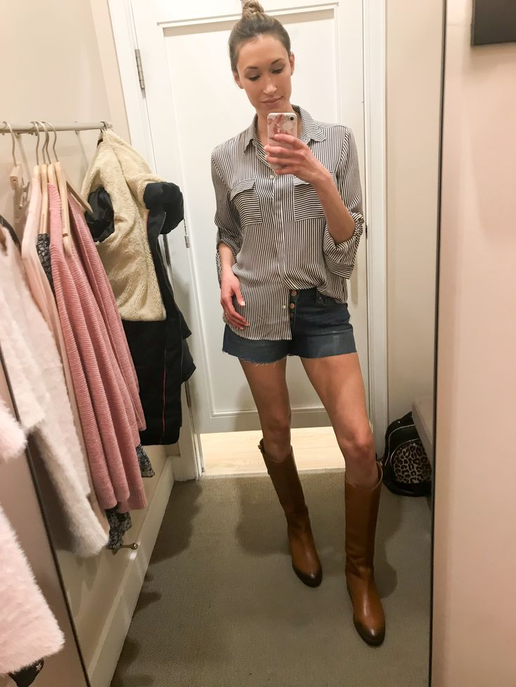 Loft Haul and Fitting Room Diary: Spring 2018- striped utility top with button-front shorts and riding boots; spring outfit; summer outfit; casual spring outfit' casual summer outfit; casual chic outfit with shorts