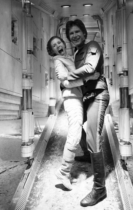 """Princess Leia and Han Solo in """"Star Wars"""" (1977) this makes me happy"""