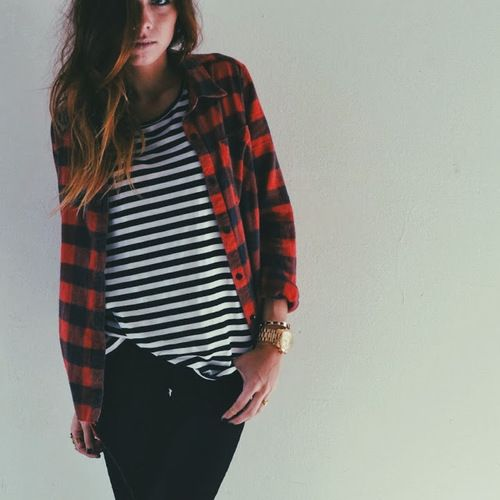 Plaid shirt with striped top, plaid shirt with black jeans