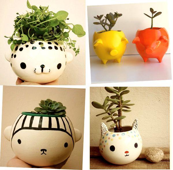 Vasos de plantas com cara de bichinhos *-*