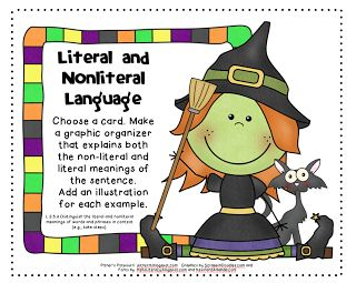 Pitner's Potpourri|Literal and Nonliteral Language-Halloween Freebie!|This fun freebie could be help ELLs learn about using literal and nonliteral language in English. Since idioms, colloquialisms, and other figures of speech can often be confusing for ELLs, particularly beginners, this exercise, which contains visuals and has a hands-on component, both of which are generally beneficial for ELLs, could serve as positive reinforcement for learning about these aspects of English.
