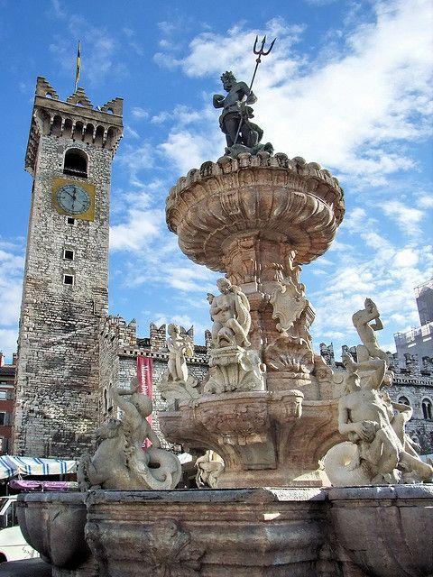Neptune's Fountain in Piazza Duomo, Trento, Italy