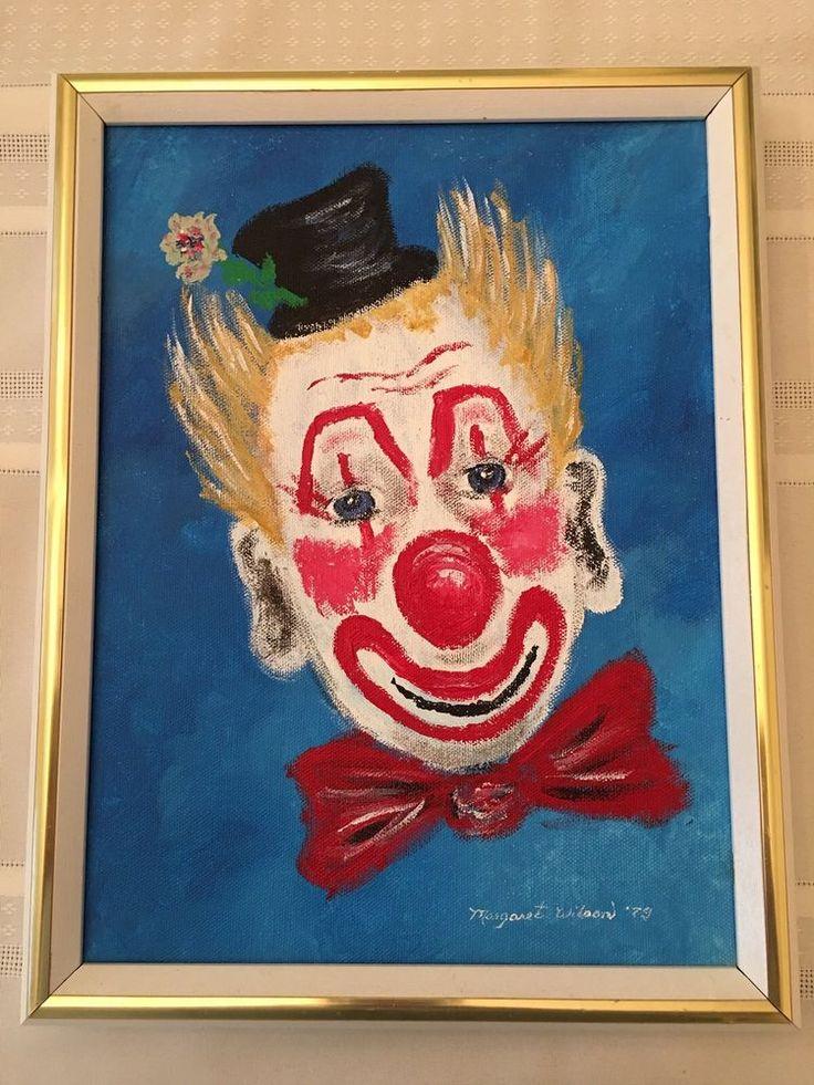 Framed Original Hand painted Clown Face