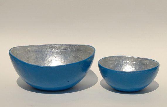 Bowl paper mache laguna blue with silver leaf
