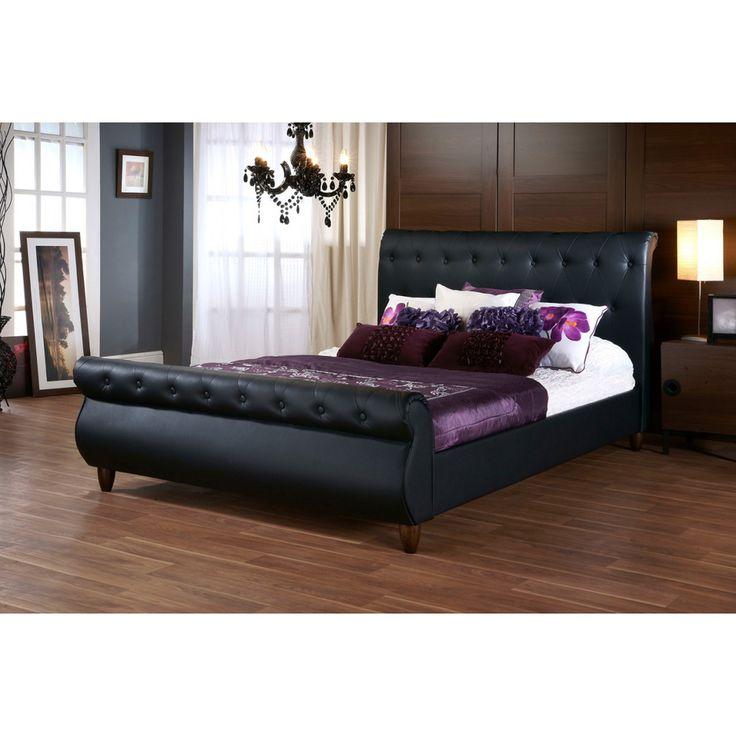 Baxton Studio Ashenhurst Black Modern Sleigh Bed with Upholstered Headboard - Queen Size | Overstock™ Shopping - Great Deals on Baxton Studi...