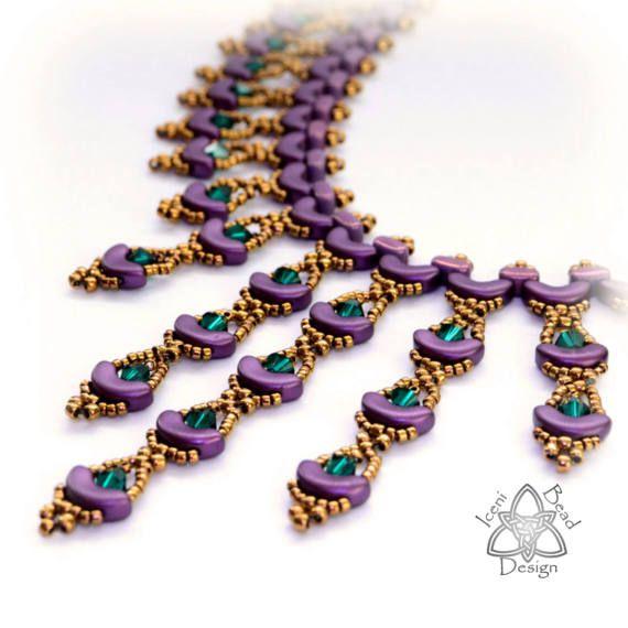 PDF beading pattern PDF handmade jewelry superduo pattern IOS par Puca pattern Arcos par Puca tutorial