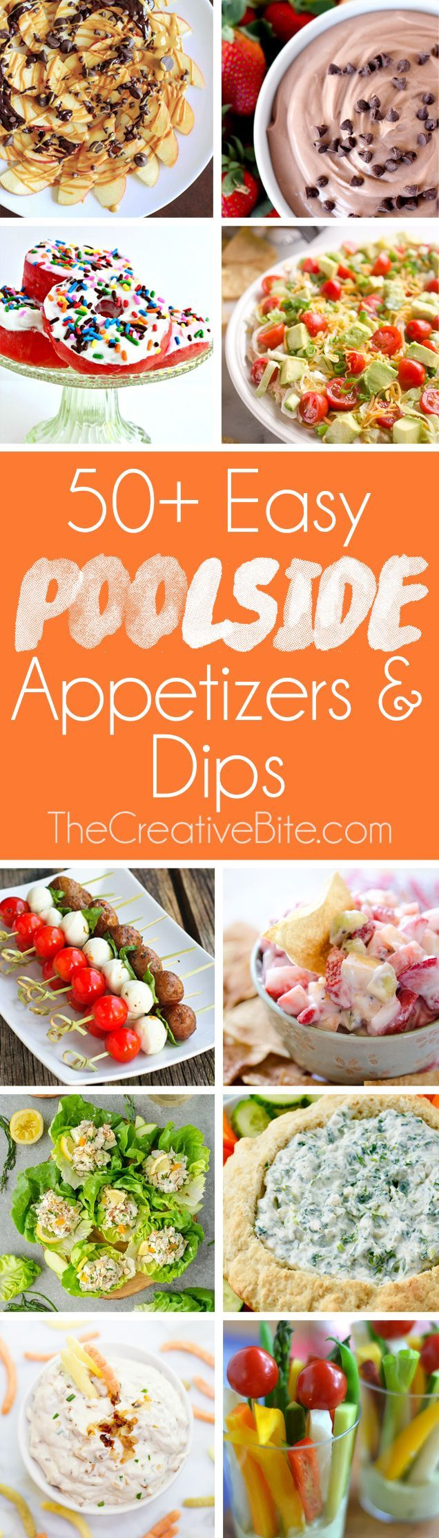 50+ Easy Poolside Appetizers & Dips are a collection of delicious recipes perfect for a hot summer day chilling by the water. No one wants a hot and heavy dish when it is blazing hot outside, but these lighter recipes are perfectly refreshing. From sweet