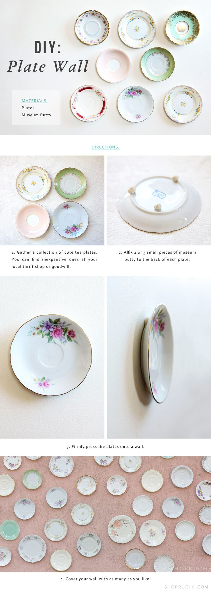 For a vintage-inspired style, we love the idea of displaying vintage plates on the wall.