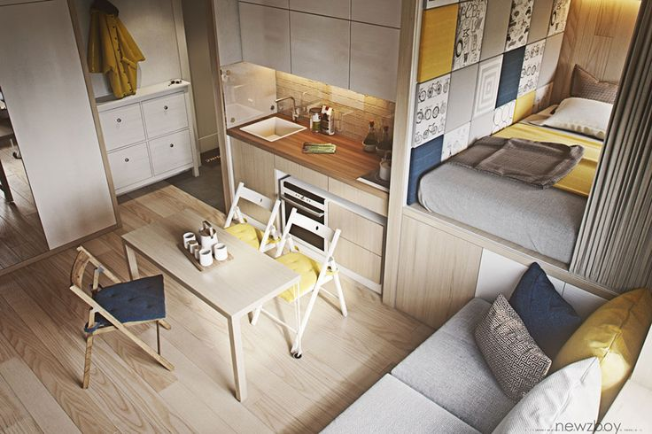Here is an example of a really small apartment that has a well thought out layout. While compact, it does have everything one needs...