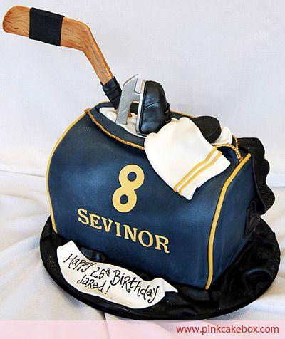 Hockey Duffel Bag Cake by Pink Cake Box in Denville, NJ.  More photos at http://blog.pinkcakebox.com/hockey-duffel-bag-cake-2009-02-23.htm  #cakes