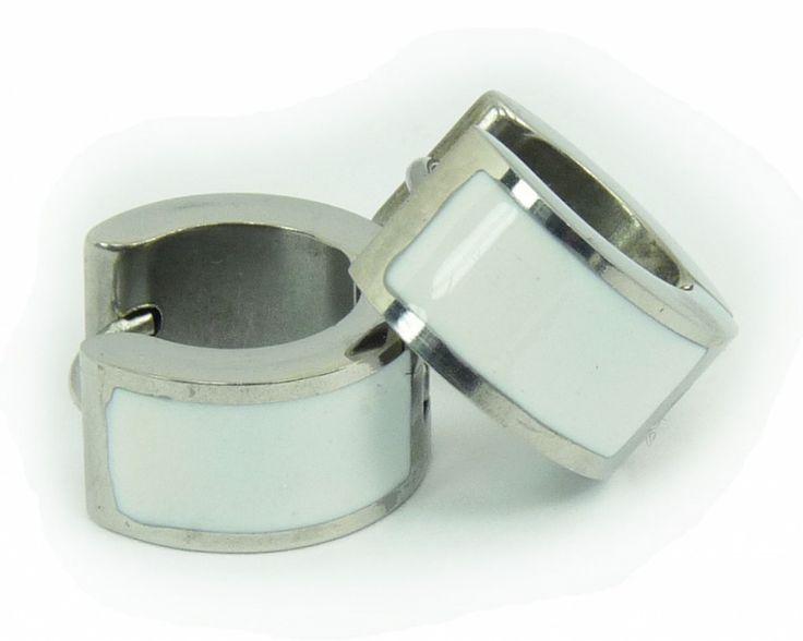 Náušnice chirurgická nerez ocel bílé 32868 | Bižuterie Kozák