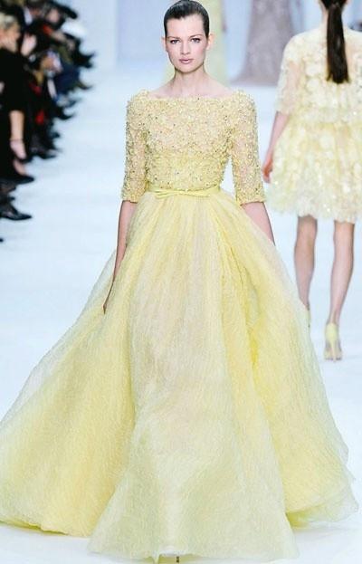 Vestido de novia color amarillo pastel | Vestidos de novia ...