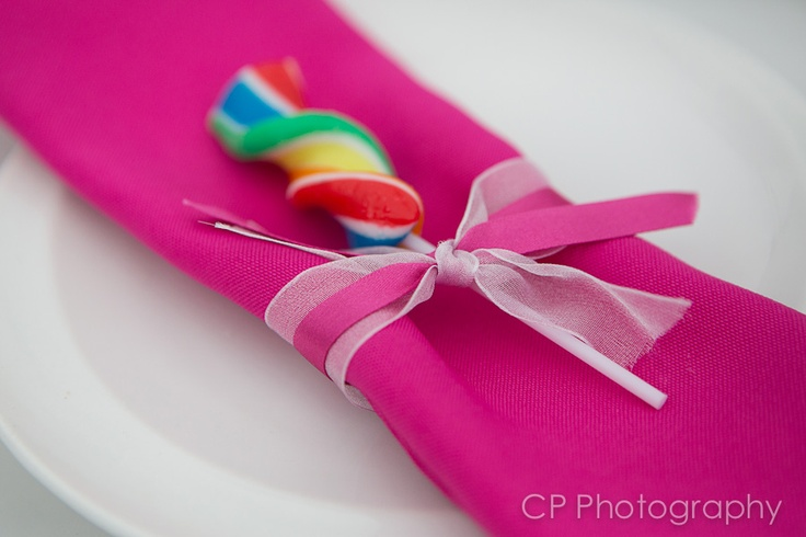 Add extra colour and a yummy lolly to your guest place settings, by tucking in a napkin.  Great for children too.  Swirly lollies are 99p each, order online at the Fuschia Boutique at www.fuschiadesigns.co.uk.