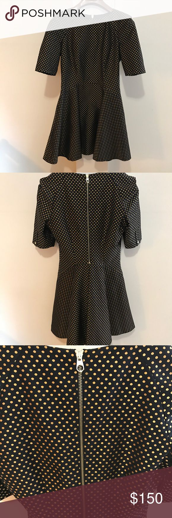 Baker BY TED BAKER DRESS BLACK DRESS WITH GOLD POLKADOTS. Baker by Ted Baker Dresses Midi
