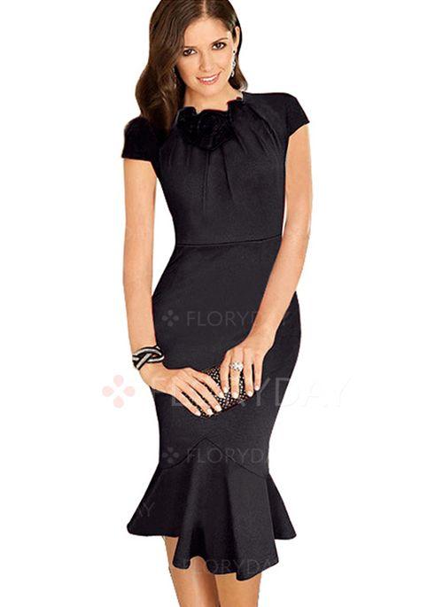 baumwolle kurze h lse midi elegant kleider elegante. Black Bedroom Furniture Sets. Home Design Ideas