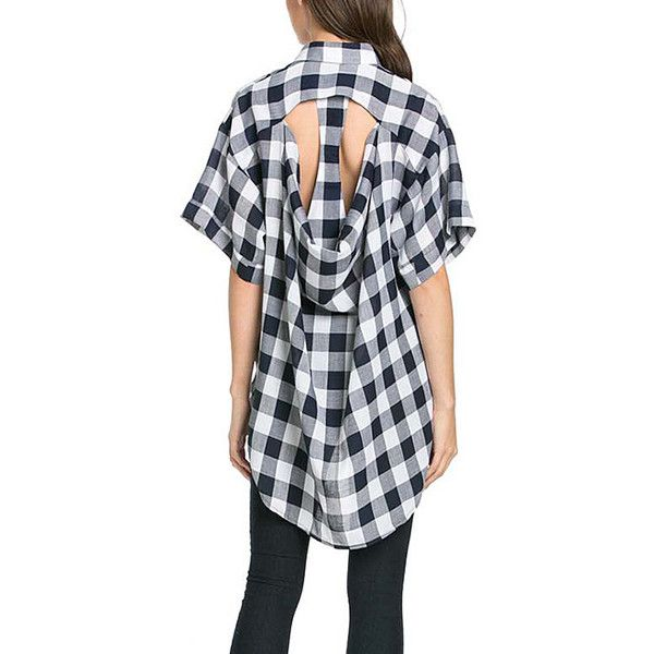 TOV Blue Plaid Cutout Hi-Low Tunic (1,615 INR) ❤ liked on Polyvore featuring tops, tunics, long plaid tunic, plaid tunic, cutout tops, plaid top and long length tops