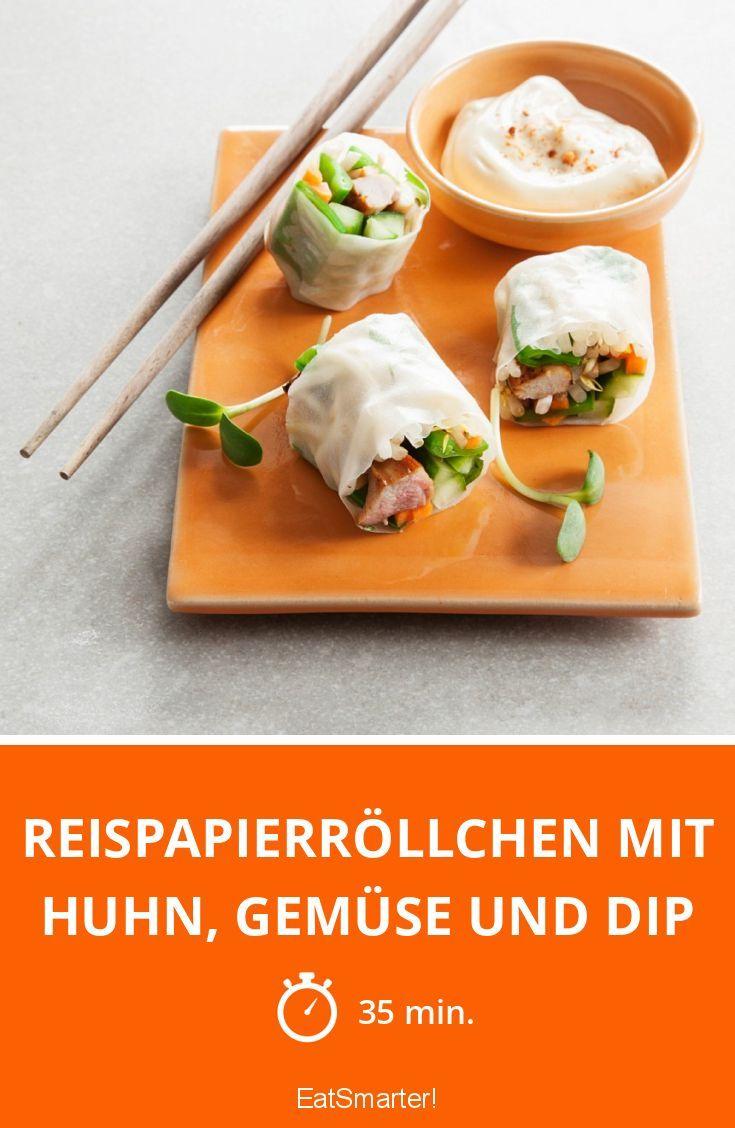 Reispapierröllchen mit Huhn, Gemüse und Dip - smarter - Zeit: 35 Min. | eatsmarter.de
