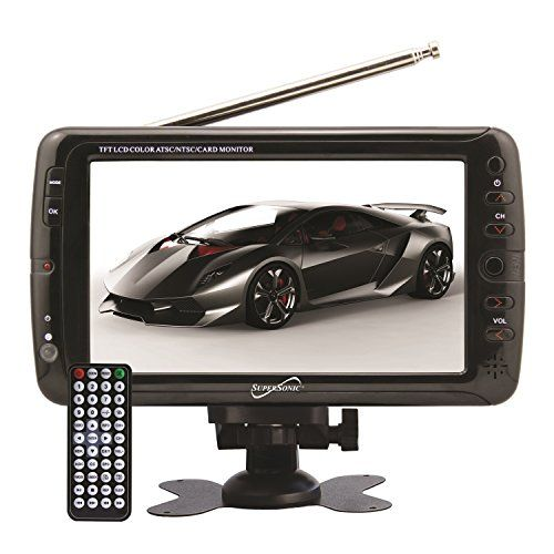 SuperSonic Portable Widescreen LCD Display with Digital TV Tuner, USB/SD Inputs and AC/DC Compatible for RVs, 7-Inch  7-inch widescreen LCD TV; built-in digital TV tuner; built-in USB & SD card reader allows you to play any external device  Built-in lithium rechargeable battery; selectable screen mode: 16:9; 800 x 480 resolution; on screen display  2 x AV input jacks; rotary rod antenna; earphone jack; built-in speakers; AC/DC operation: watch your favorite shows at home or on the go  ...