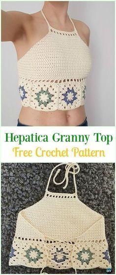 Crochet Summer Halter Top Padrões Livres