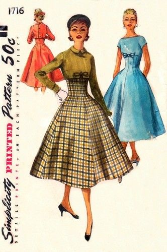 """""""Simplicity 1716; ©1956; Misses' One-Piece Dress and Jacket"""""""