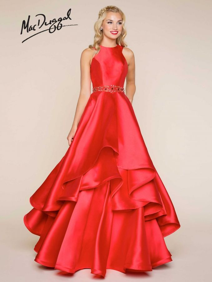 The Pageant Planet has everything you need to find the perfect look for your upcoming prom or homecoming event. Check out this dress by MacDuggal  Prom Dresses BALL-GOWN High Neck Natural Mikado long Black,Red