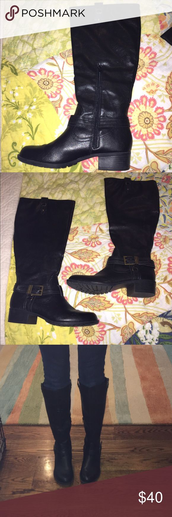 Michael Shannon Black leather knee high boots NEVER WORN!! Michael Shannon black knee high leather boots. Perfect condition. Comes with shoe box. M.P.S. Shoes Over the Knee Boots
