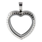 SILVER TONE HEART LOCKET WITH CRYSTALS www.mycharminglockets.ca #SHD #southhilldesigns @byjanehedges