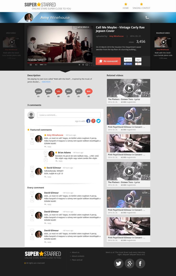 Video page with commenting and voting section. Made for the Superstarred project.