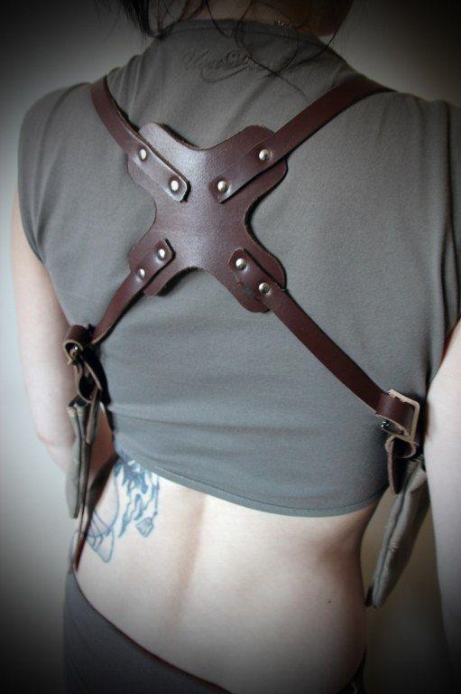 Unisex Shoulder Holster - Leather with Vintage Canvas Pockets - steampunk…