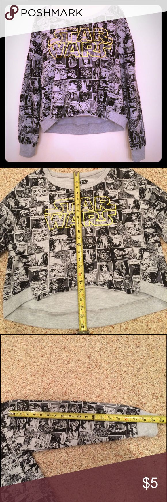 Star Wars sweatshirt. This is used hi-lo Star Wars sweatshirt. It looks like someone has altered it somewhat, but it is still very cool for a SW fan.  Price reflects this. See pics 4 & 5. Size M. Great graphics. Star Wars Tops Sweatshirts & Hoodies