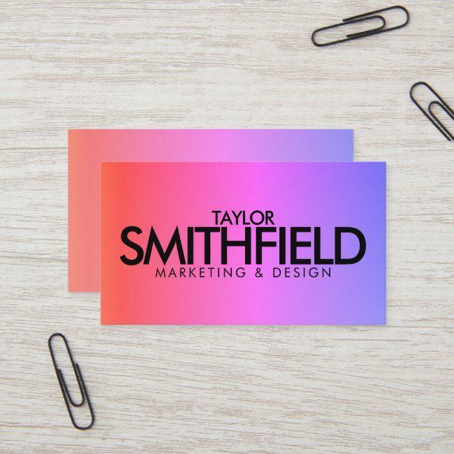 Pink Color Gradient Elegant Business Card Zazzle Com In 2020 Elegant Business Cards Gradient Color Pink Color