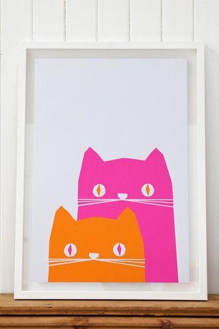Spare bedroom print. Cat illustration print.  Ronnie & Frank Screen Print by Yoke.