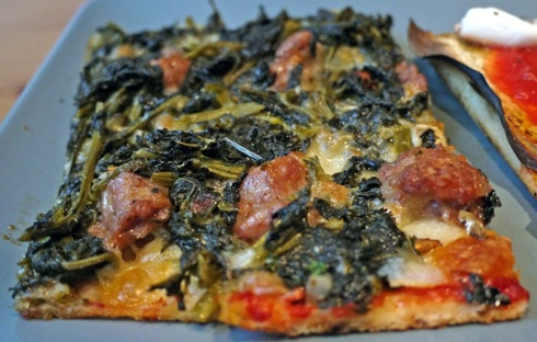 The Best £2.10 Slice of Pizza in London    From London's Datte Foco, the salsiccia and broccoletti (aka broccoli raab, broccoli rabe, rapini, friarelli) pizza al taglio