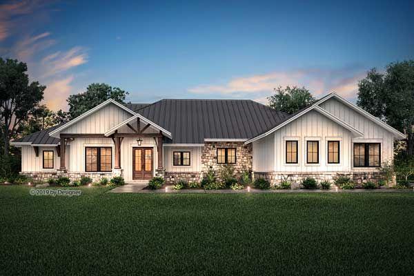 Modern Farmhouse House Plan 4 Bedrooms 3 Bath 3366 Sq Ft Plan 50 384 Farmhouse Style House Farmhouse Style House Plans Ranch Style Homes