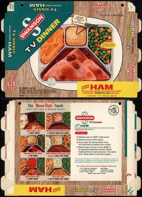 Campbell Soup Company - Swanson TV Dinner - Sugar Cured Ham with Pepperidge Farm Corn Muffin - box - 1960's by JasonLiebig, via Flickr