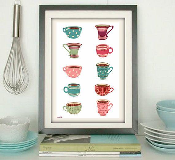 Cup print, kitchen art,cup tea ,cup coffee,art print,art home print, living room, print illustration, kitchen print, poster print