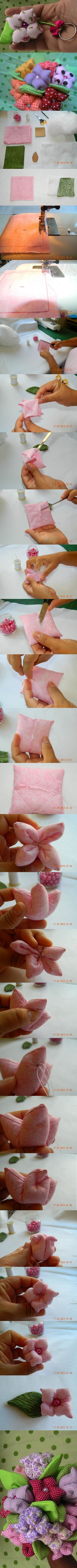 Pretty quilted flowers can be used for lots of things!.(keychains,pincushions,etc) Picture tutorial!