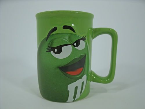 M MS Chocolate Candy Green Character Coffee MUG Relief Ceramic Collectible 2009 | eBay