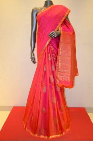 Pink With Peach Hand Woven Kanjeevaram Patli Silk Saree