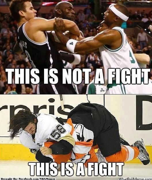even though i hate it when they fight, hockey fights are so much better than basketball fights