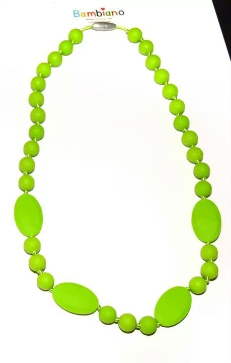 Bambiano Eliza Necklace in Chartreuse. Bambiano Necklaces are made of 100% Food grade silicone. BPA free, Lead free and nontoxic. Fashionable for Mums and safe for teething babies to chew on. Pendants are washable and soft on baby's gums. Shop at www.bambiano.com