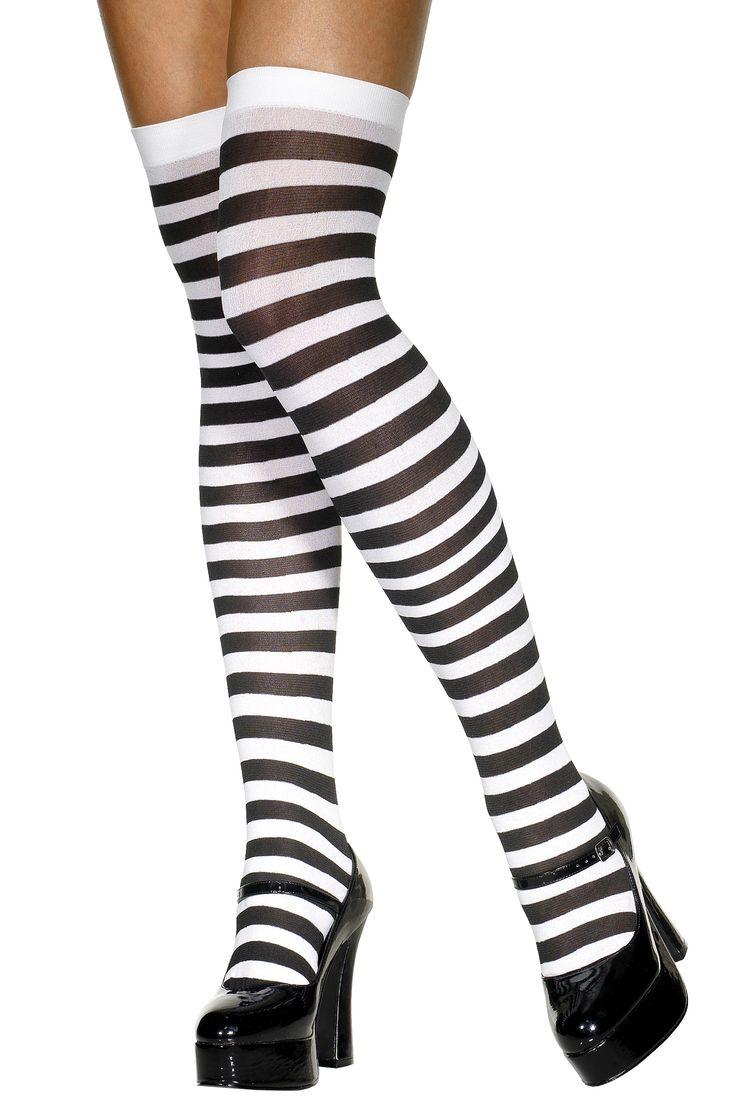 Bas rayés noir et blanc femme : Deguise-toi, achat de Accessoires