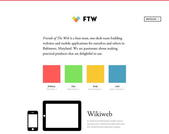 23 Examples of Flat Websites. Friends of the Web current design showing headphones and what people are listening to is OMGrad.