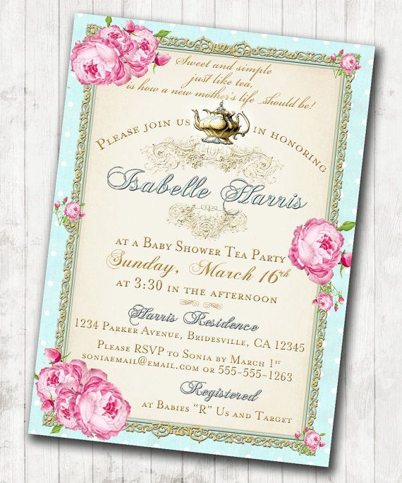 17 Best images about Beckys Shower – Tea Party Bridal Shower Invitations